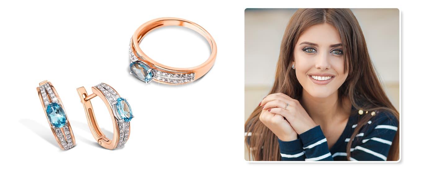 Золотые серьги и кольцо с голубыми камнями на 8 марта купить