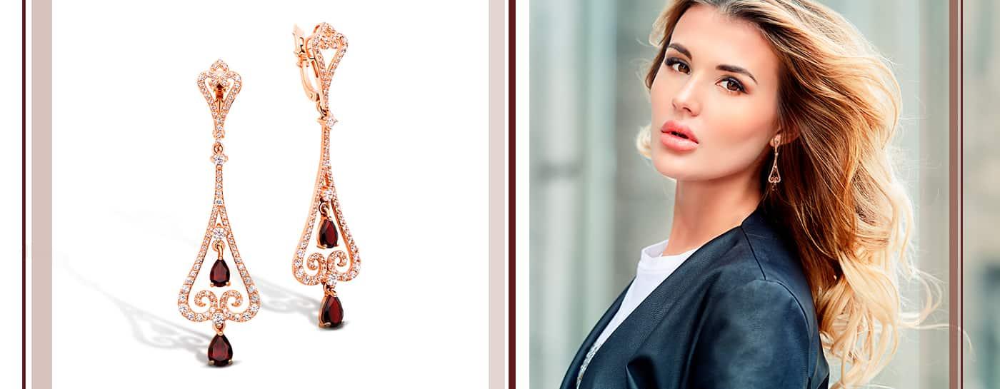 Золотые серьги подвески с красными камнями на 8 марта недорого