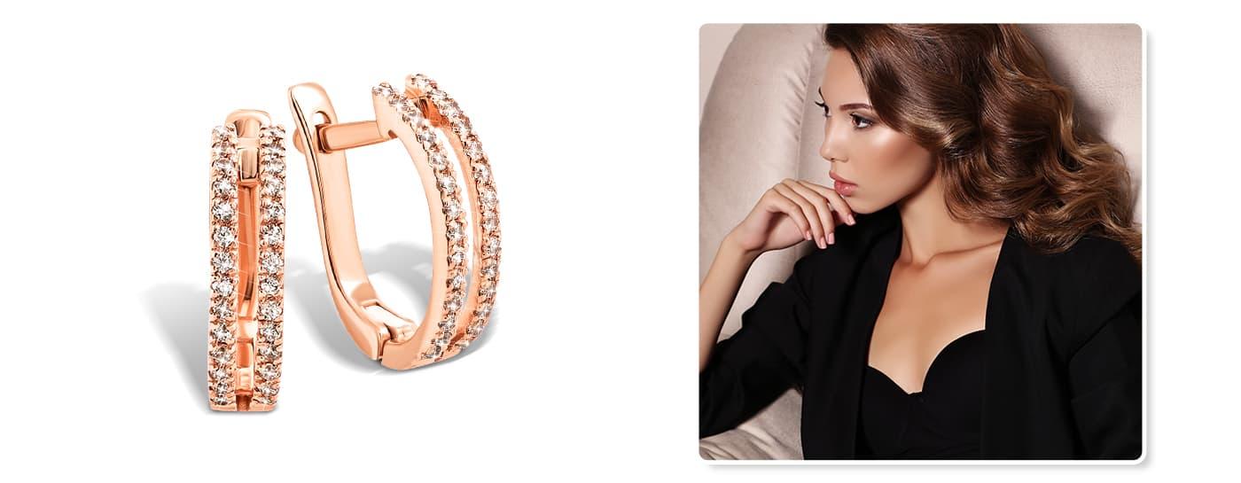 Золотые сережки с дорожкой камней на 8 марта цена
