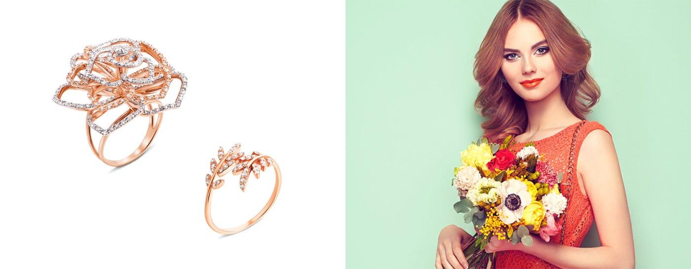 Золотые кольца с фианитом в интернет-магазине
