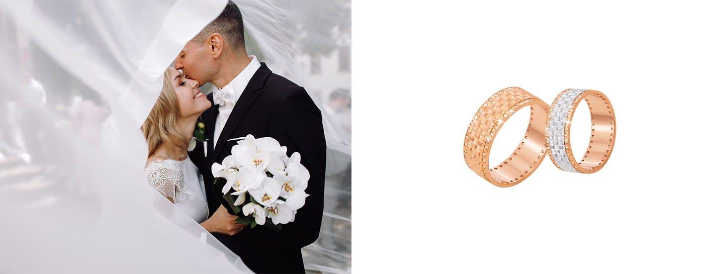 Плетеные обручальные кольца с камушками цена