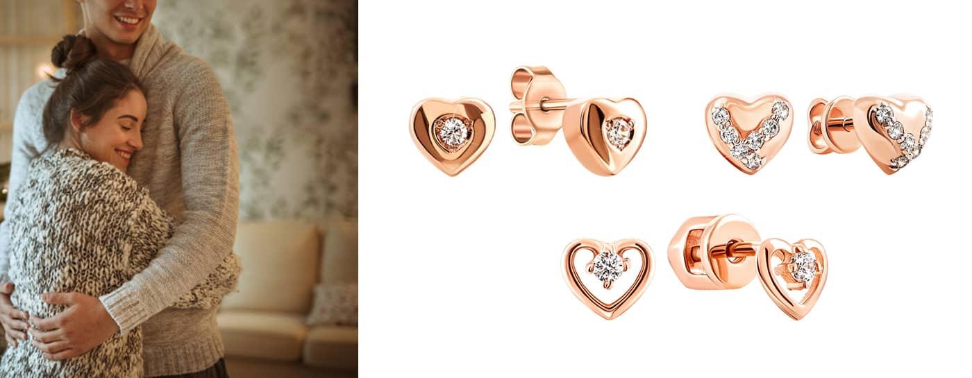 Золотые серьги сердечки в подарок купить