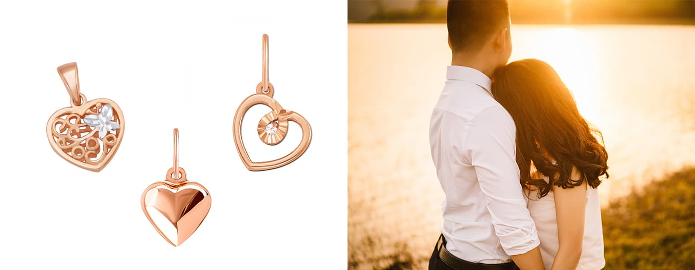 Золотые кулоны сердечки на 14 февраля цена